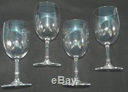 Baccarat French Crystal Set 4 Montaigne Non Optic 7 Clear Wine Glasses Larger