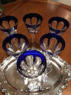 Baccarat Harcourt Cut Crystal Cobalt Blue And Clear Wine Glasses Set Of 6