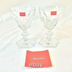 Baccarat Harcourt Signed Set 2 Crystal Claret Wine Glasses 6 Oz Orig Red Tags 5