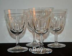 Baccarat Lorraine Signed Set of (4) Cut Crystal 6 Tall Goblets Water or Wine
