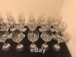 Baccarat Massena Crystal Wine & Champagne Set Of 18 Pieces Glass Set! France