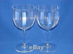 Baccarat Montaigne Optic Set 2 Water /red Wine Glasses Goblets Crystal 7 Signed
