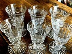 Beautiful Set of Six Antique Hand Cut Lead Crystal Rummers/Wine Glasses