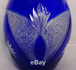 Bohemia COBALT BLUE Cut to Clear BUTTERFLY Decanter & 4 Wine Goblet SET
