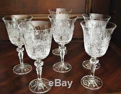 Bohemia Crystal set of 6 Wine Glasses 220ml, Hand Cut, Czeck Republic