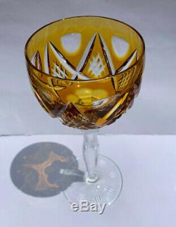 Bohemian Crystal Cut to Glass Multi-Color Set of 6 Wine Glasses