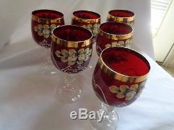 Bohemian Crystal Enamel Painted Set Of Six Cranberry White Trimmed Wine Glasses