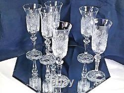 Bohemian Crystal Glass Set of 6 Champagne Flute Wine Glasses 5 oz Hand Cut