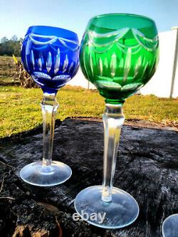Bohemian Cut to Clear Crystal Multicolor Set of 4 Wine Glasses