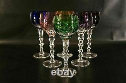 Bohemian Czech Crystal Cut To Clear Color wine Glasses Set Of 6