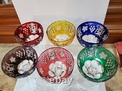 Bohemian / Czech Set of 6 Hand Cut Crystal Color Glasses 6 1/2 X 4