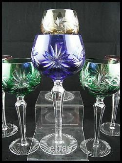 Bohemian Double Cut Crystal Roemer 6 Wine Glasses Colored Set Austria Vienne