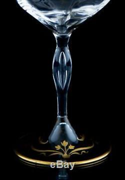Bohemian Josephinenhütte Gold Wine Glasses, Set of (5), Tulip Design