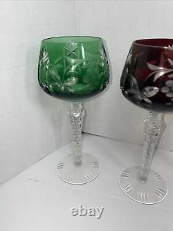Bohemian Multi Color Crystal Stemware Wine, Water Set Of 6 cut to clear