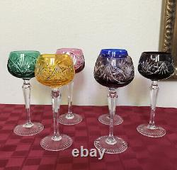 Bohemian Red/Blue/Green/Purple Color Cut Clear Crystal Hock Wine Glasses SET 6