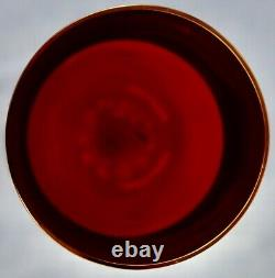 Bohemian red cranberry gold band grape pattern set 8 wine glasses 200ml