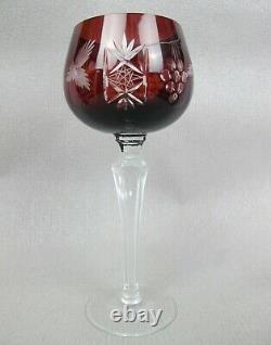 Bohemian set 6 x harlequin cut crystal glass CHAMPAGNE WINE HOCK GLASSES. 300 ml