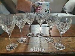 Boxed Set of 6 STUART Crystal SHAFTESBURY Claret Wine Glasses 7