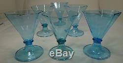 Bxart ANTIQUE SET 6 VENETIAN OCTAGONAL BEAKER WINE GLASSES Italy, SALVIATI