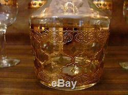 CULVER LTD Decanter & Wine Glasses Set of 6 Valencia Mid Century 22k Gold