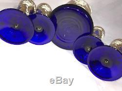 Cobalt blue withgold wine, liquor drink set, pitcher & 4 goblets Czech Bohemian
