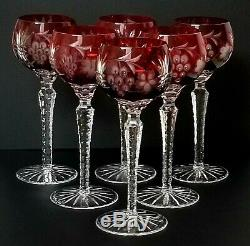 Cranberry Cut to Clear Grape Motif Wine glasses set of 6