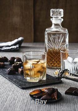 Crystal Whiskey Decanter Glass Liquor Scotch Bottle Vintage Wine Bar Stopper Set
