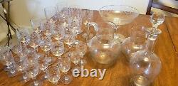 Crystal Wine Set Decanter, 2 jars, center. Possible Saint-Louis. 30 pieces