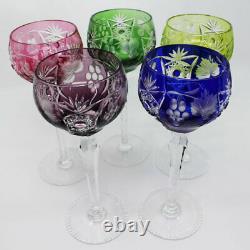 Cut to Clear Multi-Color Wine Glasses Multi-Color Set of 5