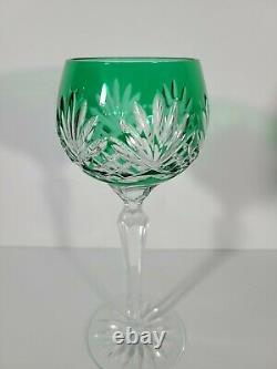 Czech Bohemian Cut to Clear Multi-Colored Wine Glasses 8 Ounce (set of 8)