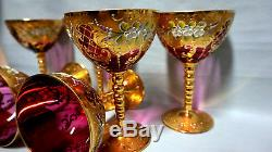 Czech Bohemian Moser Glass Set of 6 Cranberry Wine Glasses Gold Plated 6