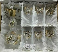 Czech bohemia crystal cut glass Wine set 6+1 decorated with gold 6x17cm + 1x