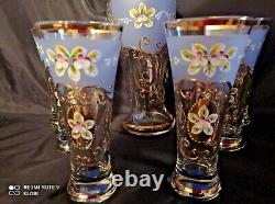 Czech bohemia crystal glass Water, wine blue set decorated gold