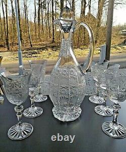 Czech bohemia cut crystal glass Wine set 6+1