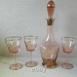 DECANTER SET with 3 Wine Glasses Goblets Pink Rose Gold Trim Depression Vintage