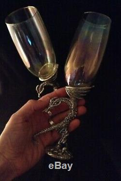 DRAGON Champagne Glass SET OF 2 Fellowship Foundry PEWTER Clear Glass FANTASY