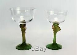 Daum Crystal Pate De Verre Nature Wine Glasses set Champagne