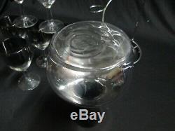 Dorothy Thorpe Silver Carrier Stand Serving Carafe & 6 wine glasses MCM Bar Set