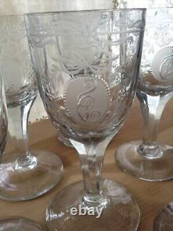 Early Antique Georgian Etched Monogrammed Wine Cordials, Set Of Six