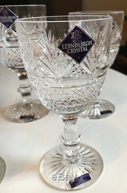 Edinburgh Crystal Glass Set. Unused. 14 Pieces. Whisky and Wine Glasses