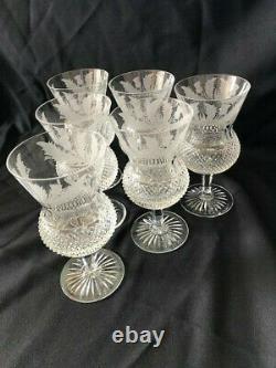 Edinburgh Crystal Thistle Design Set of 6 Wine Glasses