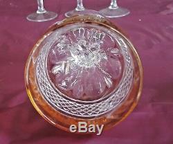 Elegant Set/6 Val St Lambert Crystal Tall Wine Goblet Hock Cut to Clear Stemware