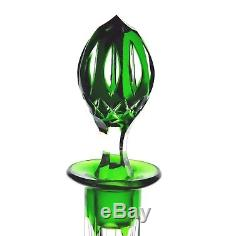 Emerald Green Cut to Clear Cased Crystal Wine Decanter & 6 Goblets Set Vintage