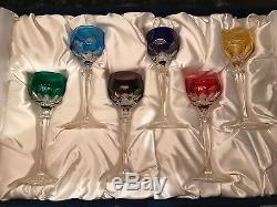 FABERGE Set of 6 Colored Lausanne Wine Liqueur Glasses with the original box