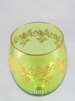 FINE FRENCH Baccarat GREEN GLASS SET OF 13 WINE GOBLET w GOLD, Recamier PATTERN