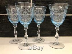 FOSTORIA Blue Navarre Set of 4 CLARET WINE Crystal Goblets 6 Signed