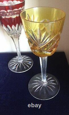Faberge Grand Palais Wine Glass Goblet Set Of 4 Multi Color Cased Crystal