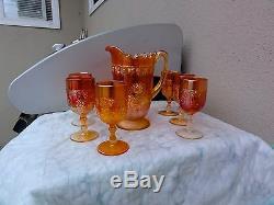 Fenton Marigold Wine & Roses Cider 7 Piece Set No Damage