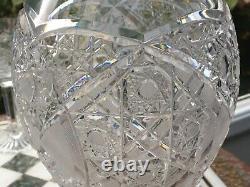 Fine Hobstar cut DECANTER CZECH REPUBLIC BOHEMIAN SET 6 WINE GLASSES QUEEN LACE