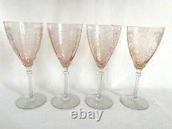 Fostoria Pink Versailles set of four (4) 8 1/4 Water / Wine Goblets